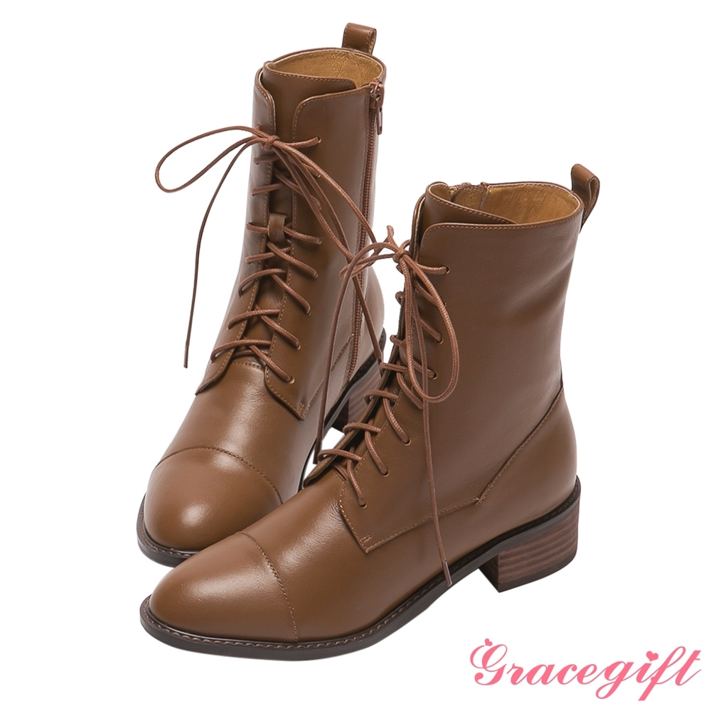Grace gift X玄玄-聯名第一次翹課全真皮中跟綁帶靴 棕