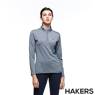 【HAKERS 哈克士】女 保暖立領半開襟排汗衣(灰色)