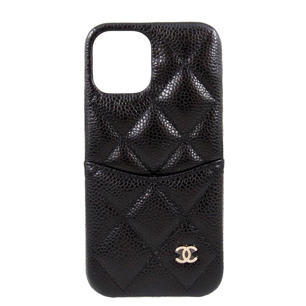 CHANEL iPhone 12 / 12 Pro 手機殼 (黑色 x 荔枝紋羊皮 x 金釦)
