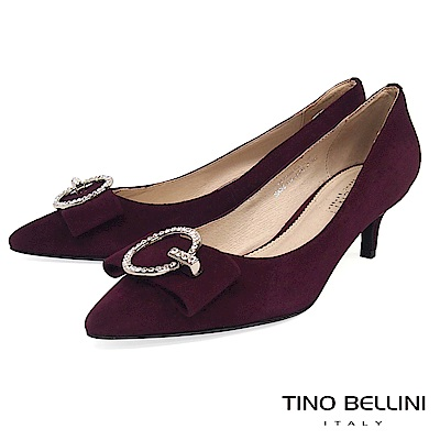 Tino Bellini秀麗閃鑽飾釦全真皮低跟鞋 _ 酒紅