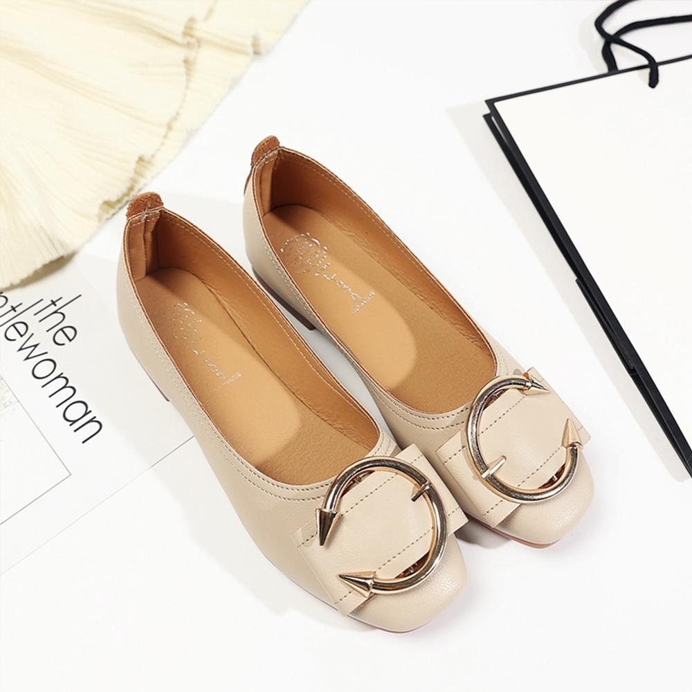 KEITH-WILL時尚鞋館 甜美誘惑皮帶扣平底鞋 米