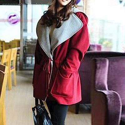 Lockers 木櫃 韓國時尚連帽抽繩毛呢外套-紅色