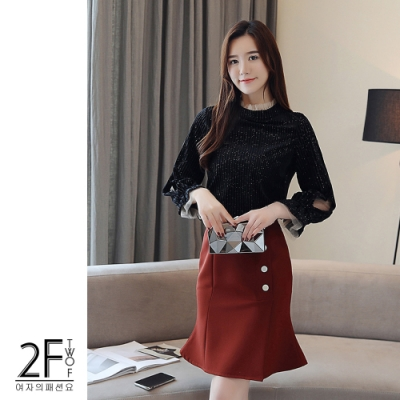 2F韓衣-韓系網紗立領袖口造型毛絨上衣-2色(S-2XL)