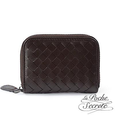 La Poche Secrete 編織小羊皮拉鍊卡夾包-深咖啡