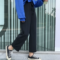 La Belleza素色腰鬆緊抽繩闊腿褲九分寬褲