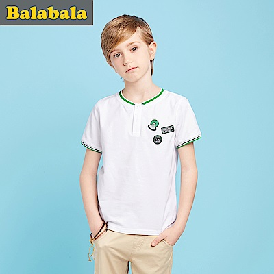 Balabala巴拉巴拉-立體橡膠標章運動POLO衫上衣-男(2色)