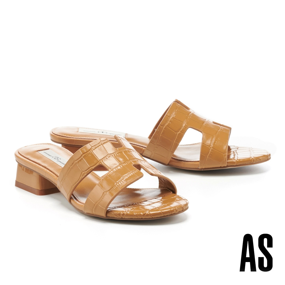拖鞋 AS 質感時髦鱷魚壓紋H型全真皮低跟拖鞋-咖