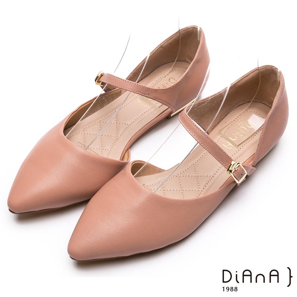 DIANA 高貴優雅-真皮繫帶側空涼鞋-粉