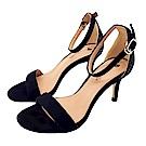 Cinderella Fashions小尺碼雙色拼接簡約一字繫帶中跟涼鞋-黑色