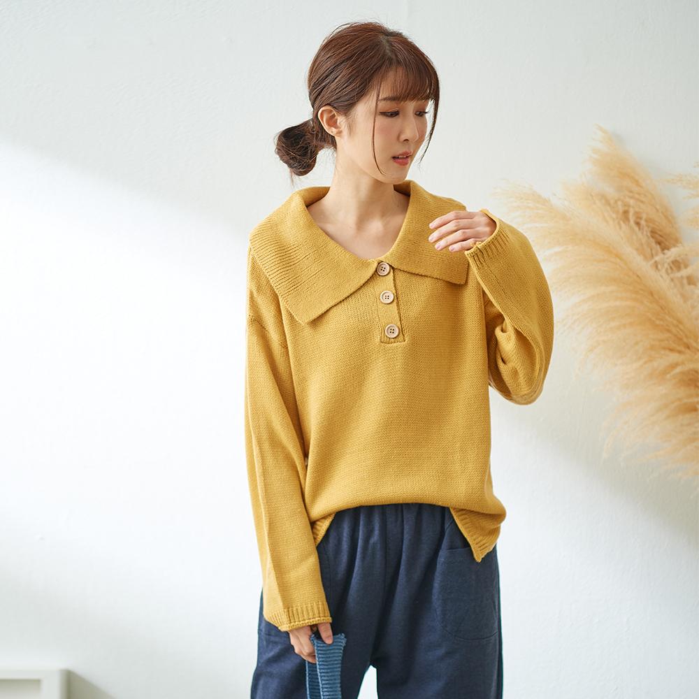 慢 生活 大翻領毛線針織衫-藍/黃