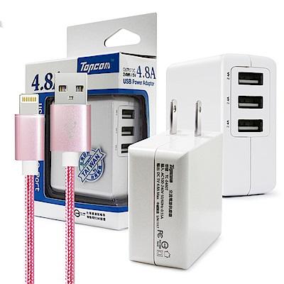TOPCOM 4.8A 3port 充電器 for Xs/XR/Xs/i8/i7編織充電線