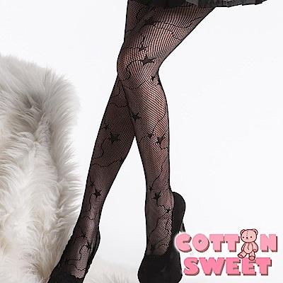 韓系絢爛流星黑色 連身網襪 棉花甜