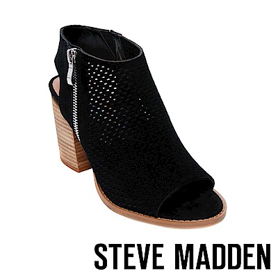 STEVE MADDEN-ABIGAIL魚口踝靴粗跟涼鞋-絨黑