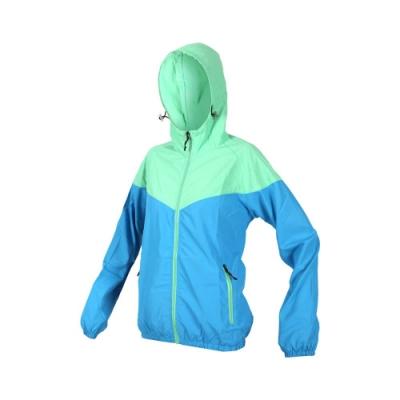 SOFO 女抗UV外套-可收納 防曬外套 連帽外套 慢跑 路跑 水藍粉綠