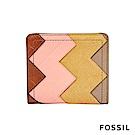 FOSSIL Logan 真皮系列拉鍊零錢袋設計短夾-多色拼接