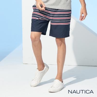 Nautica 男裝夏日舒適條紋休閒海灘褲-藍