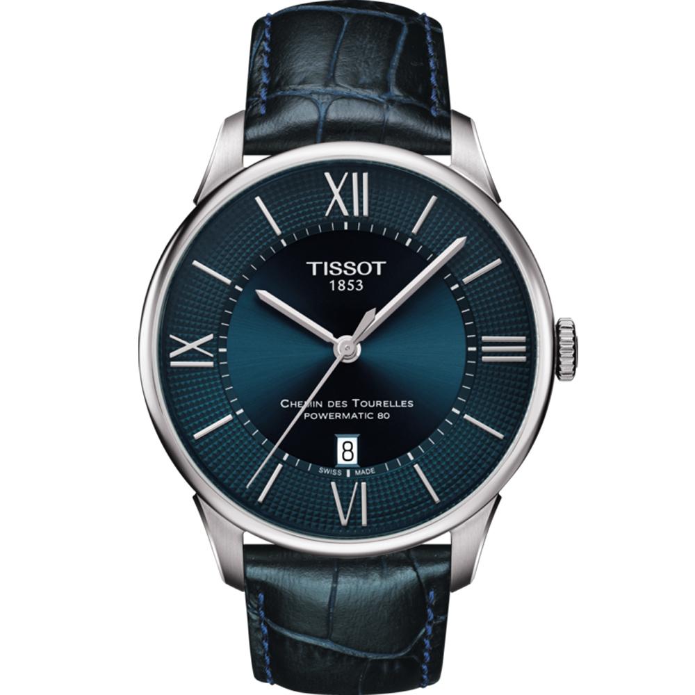 TISSOT天梭 杜魯爾系列80小時動力儲存腕錶-藍X黑(T0994071604800)