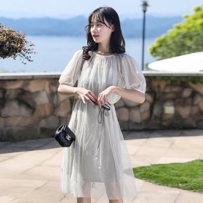 IMStyle 透明網紗+冰絲細肩帶碎花連身裙兩件式【正品】