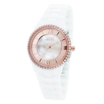 NATURALLY JOJO浪漫晶鑽珍珠貝陶瓷腕錶-玫瑰金X白(JO96929-13R)