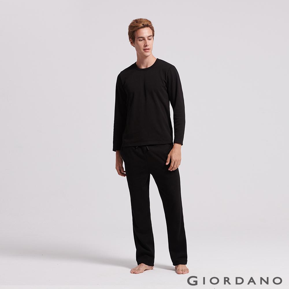 GIORDANO 男裝Homewear厚款內刷毛鬆緊素色居家褲-08 標誌黑