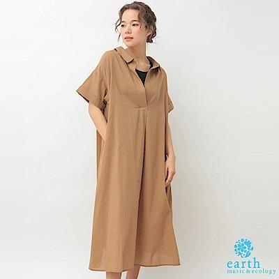 earth music 後頸繫綁帶設計襯衫式連身洋裝