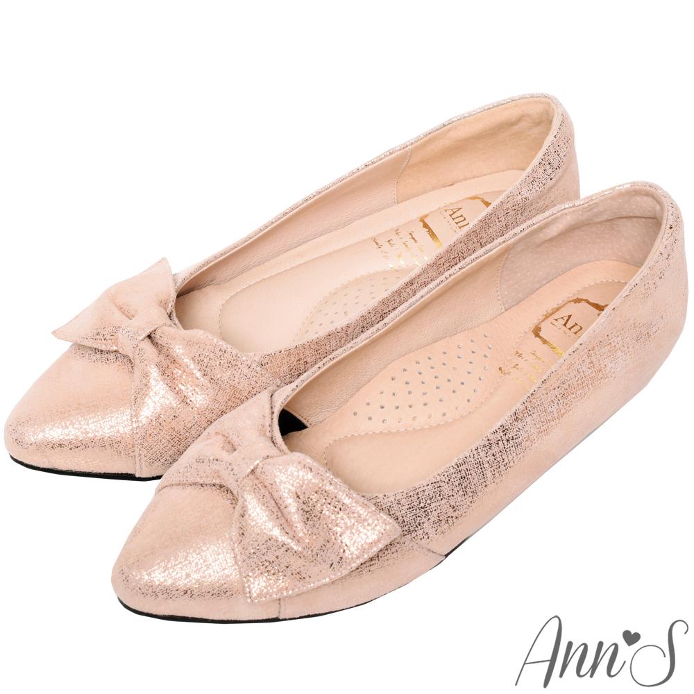 Ann'S拇指外翻救星造型蝴蝶結全真羊皮內增高尖頭鞋-玫瑰金(版型偏大)