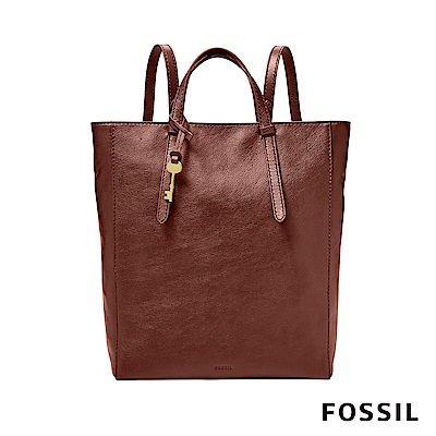 FOSSIL CAMILLA 俐落簡約手提真皮大方包-酒紅色