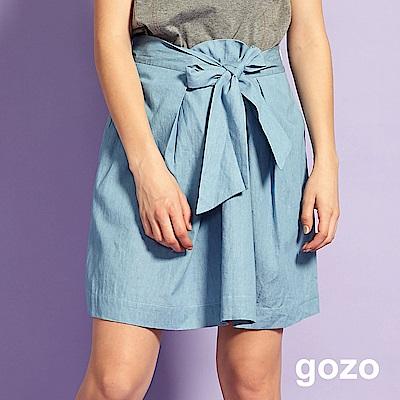 gozo 中腰綁帶棉質膝上裙(二色)