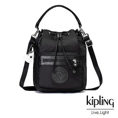 Kipling-亞洲限定款隕星黑素面多用途水桶手提