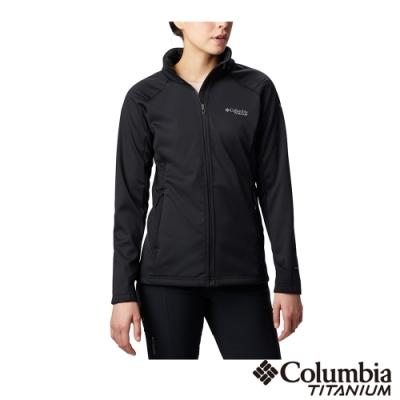 Columbia 哥倫比亞 女款- 鈦 防潑防風軟殼外套-黑色UAR13470