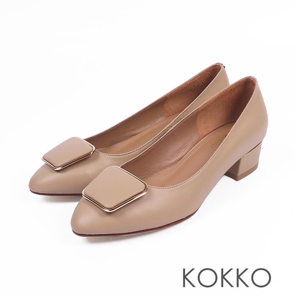 KOKKO - 通勤時尚方扣羊皮跟鞋-杏膚