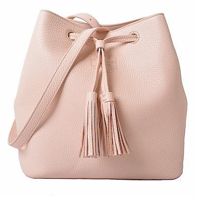 TORY BURCH THEA 流蘇裝飾荔枝紋經典LOGO束口水桶包-芭蕾粉