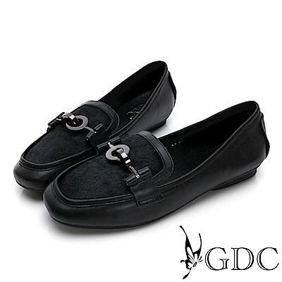 GDC-馬毛歐美時尚微方頭休閒鞋-黑色