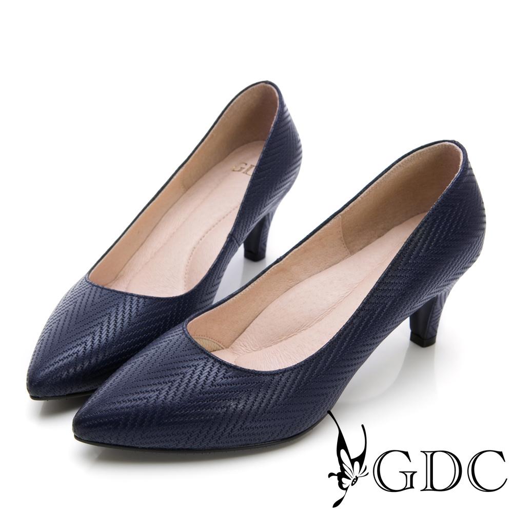 GDC-氣質OL真皮美紋優雅尖頭跟鞋-藍色