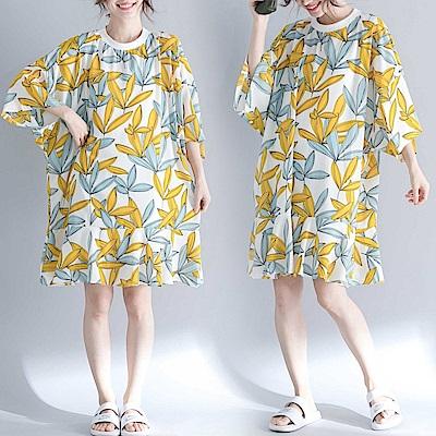 寬鬆中長款印花雪紡荷葉連身裙-F-Keer