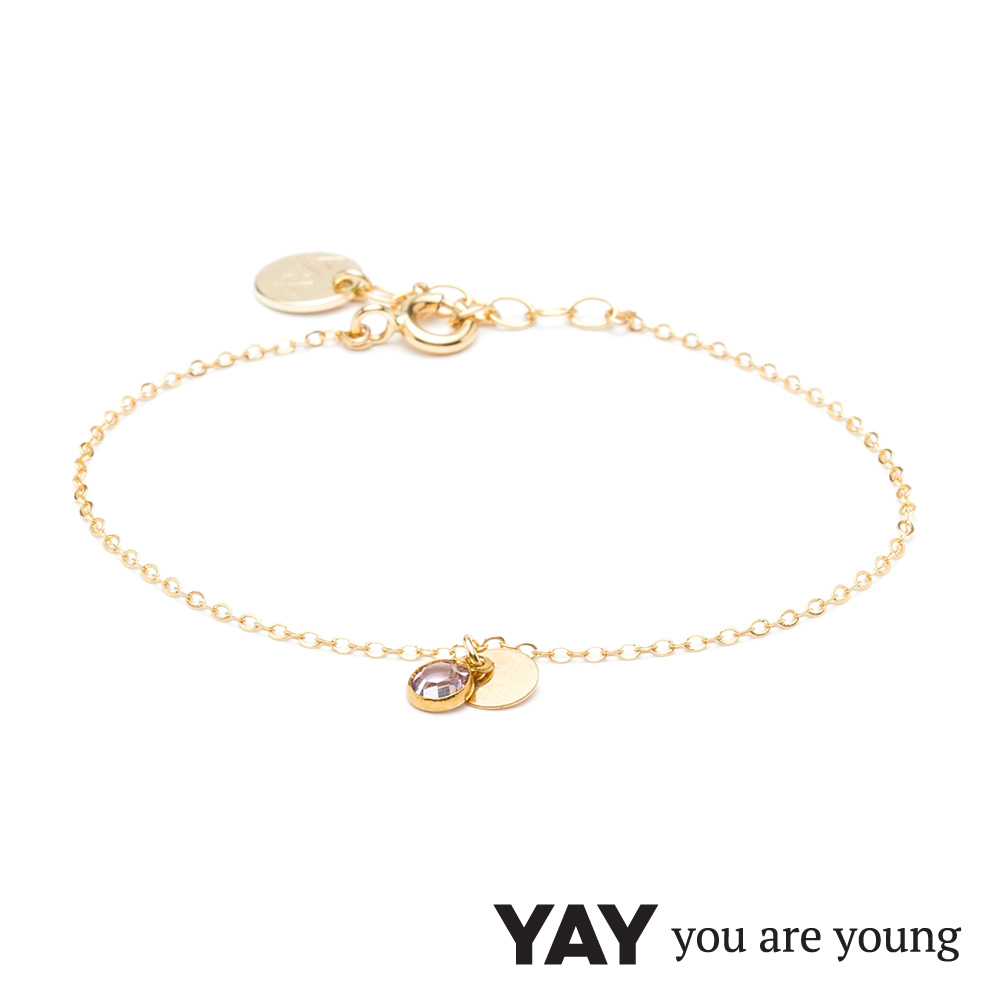 YAY You Are Young 法國品牌 Sultane 粉水晶手鍊 金色