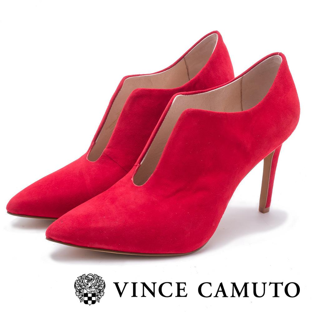 VINCE CAMUTO-性感尤物U口絨面尖頭細跟短靴-絨紅