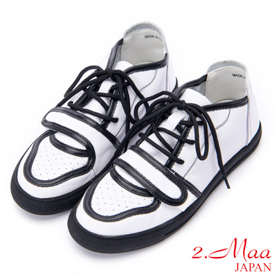 2.Maa 3D立體設計綁帶牛皮休閒鞋 - 黑白