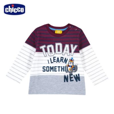 chicco-快樂學園-條紋剪接長袖上衣