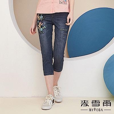 【麥雪爾】棉質亮片花朵鬆緊腰頭牛仔褲