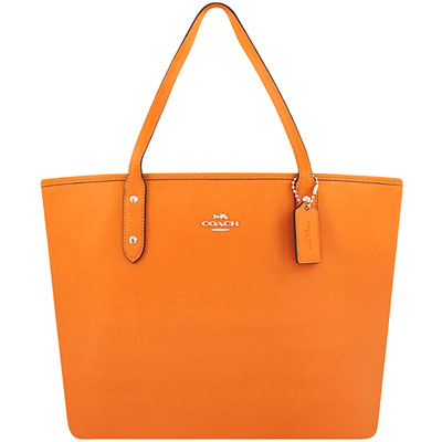 COACH 橙黃色防刮皮革托特包