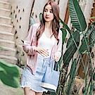 蕾絲雕花拼接純色排釦V領細針織罩衫/外套-OB大尺碼