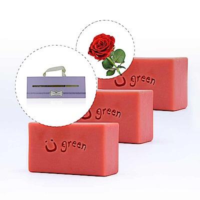 綠優園-天然植萃手工皂潤膚皂-玫瑰草礦泥三入盒裝