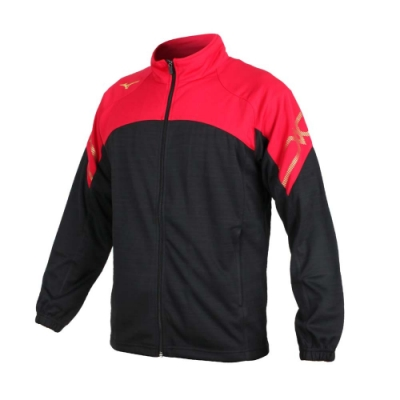 MIZUNO 男針織運動外套-立領外套 慢跑 路跑 美津濃 抗UV 吸汗速乾 32TC053496 黑紅金