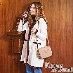KINAZ casual 熱情雙眼斜背包-暖沙卡其-LOBBY BOY系列