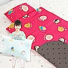 奶油獅-同樂會系列-可黏式收納100%純棉安親午睡記憶睡墊(含枕)-莓果紅