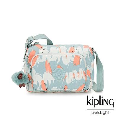Kipling 湖水綠印象派塗鴉前袋拉鍊側背包-RETH S