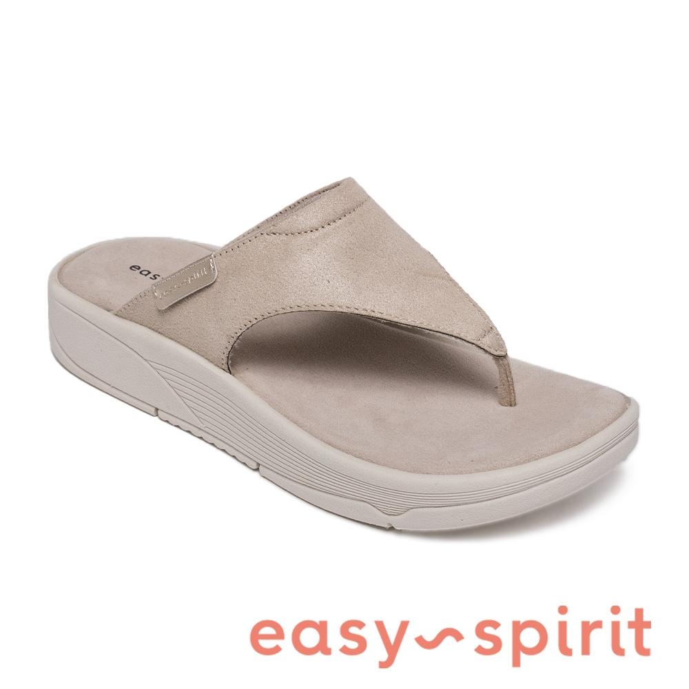 Easy Spirit-seRIFT2 皮面厚底夾腳拖鞋-米杏