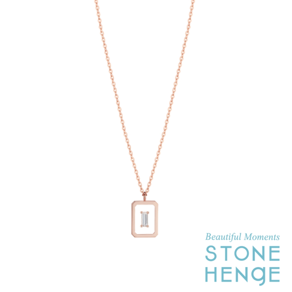 STONEHENgE 斯通亨奇 剪影系列La Stella14K玫瑰金方塊造型鋯石項鍊