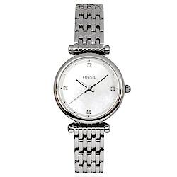 FOSSIL 美國精品手錶CARLIE MINI簡約晶鑽刻度手錶鍊錶 銀29mm